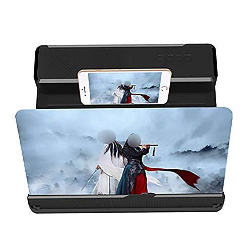 WENTING Bildschirmlupe 26 '3D-Handy-Bildschirmlupe mit Bluetooth-Lautsprecher, Blu-ray Ultra-Clear-Projektion 3D-Augenschutz Desktop-Ständer Schwarz