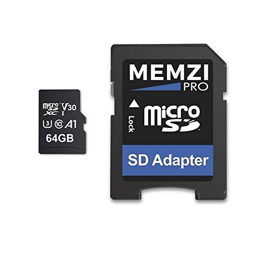 MEMZI PRO 64 GB Speicherkarte Kompatibel für Apeman Trawo A100, A87, A80, A79, A77 Action-Kameras - microSDXC 100 MB/s Klasse 10 A1 V30 Schnell 4K Aufnahm mit SD Adapter