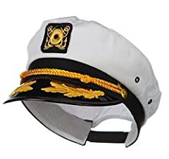 "The essential yacht captain's hat. Unisex white snapback cap, adjustable to fit adults and children. Made from high quality cloth & finished plastic with gloss. Measures about 11. 5"" length and 9"" wide. A perfect prop for that halloween sailor's cost..."