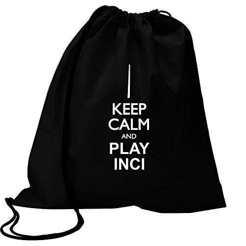 "Idakoos Keep Calm and Play INCI - Silhouette Bolsa Deportiva 18"" x 13"""
