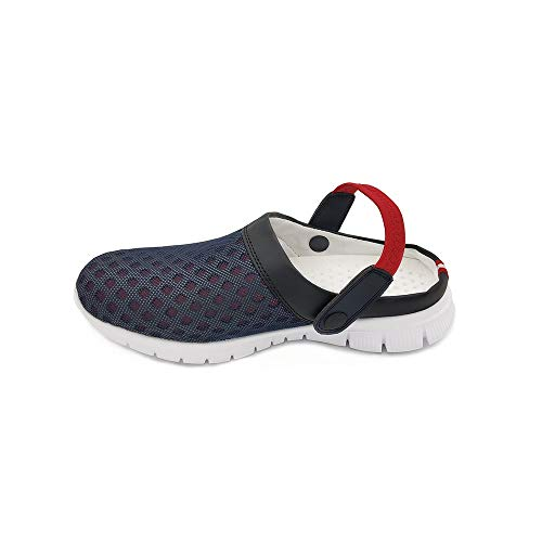[HAPLUE] サンダル スリッパ 室内履き 超軽量 男女兼用 (22.5?27.5cm) (ネイビーと 赤, 23.0 cm)