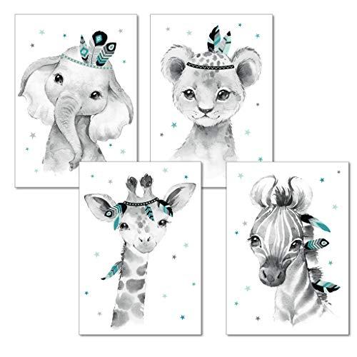 LALELU-Prints   A4 Bilder Kinderzimmer Deko Mädchen Junge   Zauberhafte Indianer-Tiere Boho Feder mint   Poster Babyzimmer   4er Set Kinderbilder (DIN A4 ohne Rahmen)