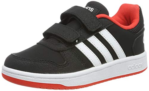 Adidas Hoops 2.0 CMF C, Zapatos de Baloncesto Unisex Niños, Negro (Core Black/FTWR White/Hi/Res Red S18 Core Black/FTWR White/Hi/Res Red S18), 30.5 EU