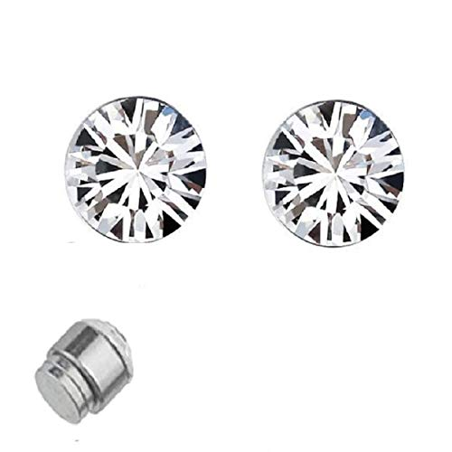 OOMPH Jewellery Pair of Silver Stainless Steel Small Magnetic Non-Piercing Stud Earrings For Men & Boys (EFQ7)