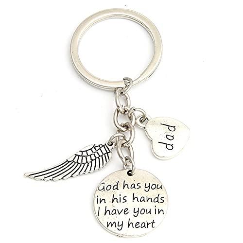 XXDDNN 1 Pc À La Mémoire De Papa Dieu T'A dans Ses Bras Je T'Ai dans Mon Coeur Porte-Clés pour Père avec Aile d'ange Amour Papa Porte-Clés