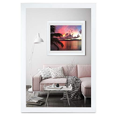 rahmengalerie24 Bilderrahmen 60x80 cm Rahmen Weiß Glanz Holz Acrylglas ohne Passepartout Portraitrahmen Fotorahmen Wechselrahmen für Foto oder Bilder MDF Dekorahmen ohne Bild Alice