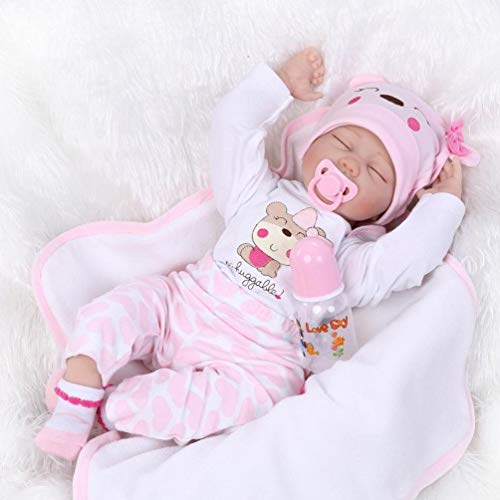 ZIYIUI 22 Pulgadas 55 cmBebe Reborn Niña Ojos Cerrados Muñecos Reborn Reales Niña De Silicona Reales Regalo Bebe Recien Nacido Tres años