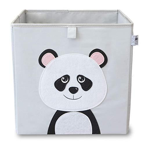 wonneklein NEU Kinder Aufbewahrungsbox I Spielzeugkiste Kinderzimmer I Box (33x33x33 cm) zur Aufbewahrung I passt ins Ikea Kallax Regal I grau mit Tier Motiv als Deko (Paula Panda)