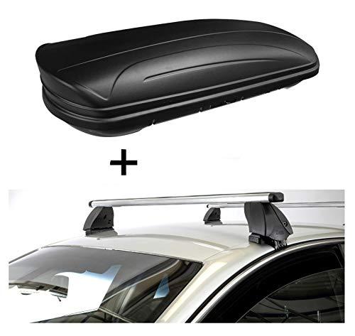 Dakbox VDPMAA320 320 liter afsluitbaar zwart mat + dakdrager K1 PRO aluminium compatibel met Peugeot 208 (5-deurs) vanaf 15