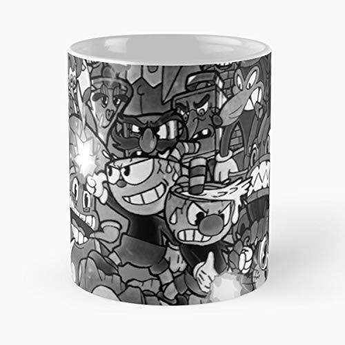 Seeyo Mugman Deal Bosses Dont Devil King with Grayscale White Dice Cuphead and Black The Best 11 oz Kaffeebecher - Nespresso Tassen Kaffee Motive