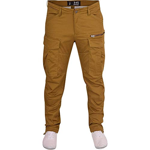 Spindle Mens 3D Tapered Cargo Trousers Multi Pocket Twisted Leg Chino Jeans 34W / 30L Khaki