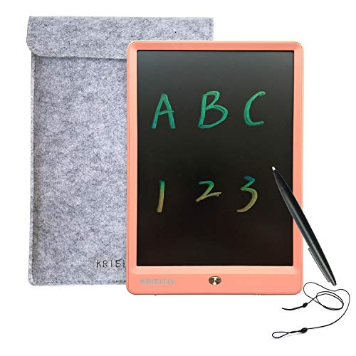 KRIEITIV LCD Writing Tablet 10 inch Colour Screen Rainbow LCD Writing Pad Portable Ewriter Tablet for Children Drawing Learning with Lock, Felt Sleeve for Kids Home Office School - Pink