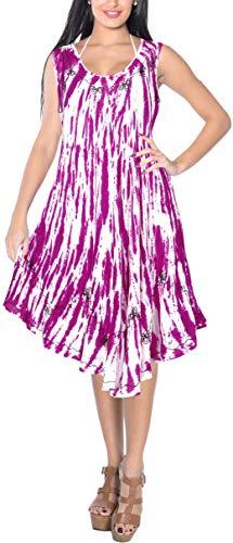 LA LEELA bestickte tie dye kurzes Strandkleid der Blume Frauen für Frauen-Bikini-beiläufige Miniumstandsmode ärmel Partei Sundress Plus Größe große hawaiische dr Rosa_Y871 DE Größe: 42-50