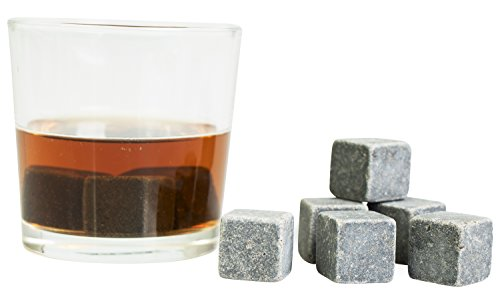 Grinscard Whiskysteine 9 STK. Wiederverwendbar - Grau Speckstein 2 x 2 x 2 cm - Kühlsteine für Party Hausbar Reisen