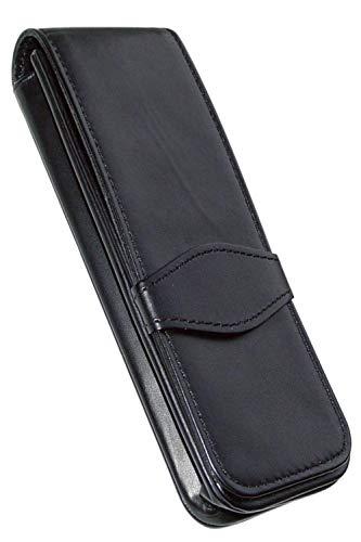 ONLINE Leder-Etui Classic für 3 Stifte, Kugelschreiber-Etui, für Schreibgeräte aller Marken, Echtleder, Geschenkidee für jeden Anlass, 14,5 x 5 x 2,5 cm, schwarz, für 3 Schreibgeräte