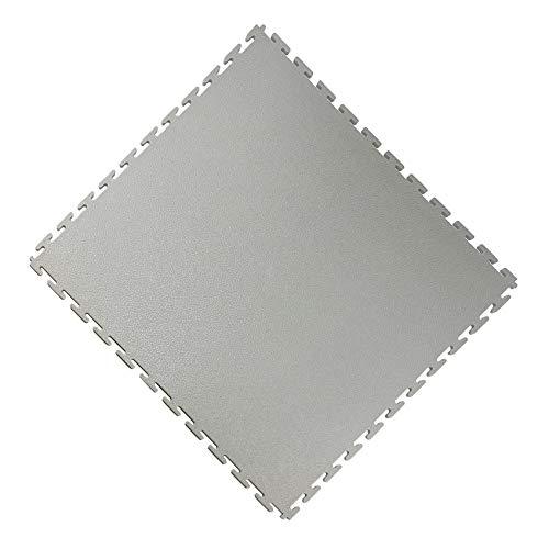 Vario24 PVC Bodenfliese 1 m² (4 Fliesen), extrem belastbar, Bodenbelag, Garagenboden, Industrieboden, nicht die Light Version (Leder-hellgrau)