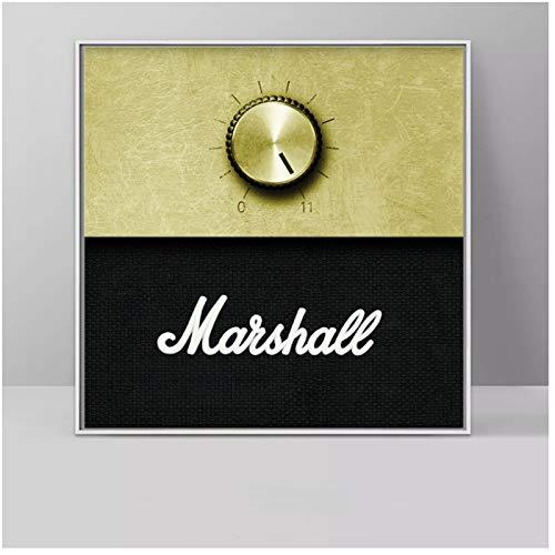 Marshall Versterker Volumeknop Muziek Poster Doek Wall Art Pictures Voor Woonkamer Decoratieve Schilderijen-60x60cm Geen Frame