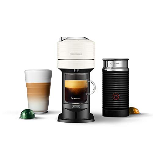 Nespresso Vertuo Next Coffee & Espresso Machine by De'Longhi, White w/Aeroccino Milk Frother, One Touch Brew, Single-Serve Coffee & Espresso Maker (Renewed)