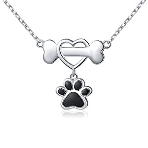 Dog paw print and bone necklace