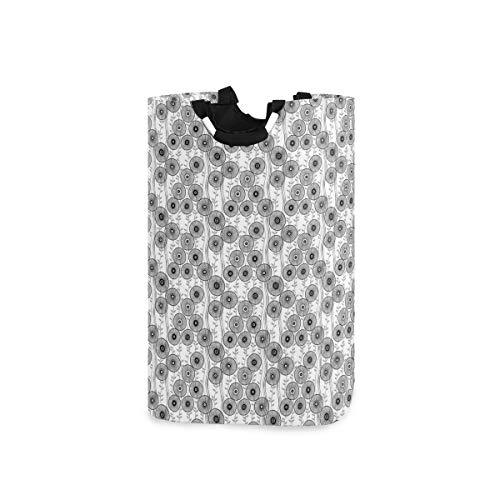 ZOMOY Multifunktionale Faltbarer Schmutzige Kleidung Wäschekorb,Simplistic Drawn Wagon Wheel Figuren Twiggy Lines With Leaves,Household Wäschebox Spielzeug Organizer Aufbewahrungsbeutel mit Henkel