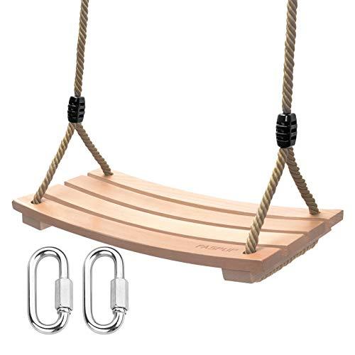 Holz Schaukelsitz, Garten Schaukel Erwachsene Kinder Holz Schaukelsitz bis 100 kg für Innen und Außenbereich (7.9Wx17.7L)