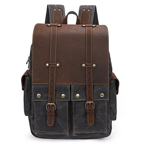 LWSS 15.4-Inch Laptop Backpack Retro Waterproof Crazy Horse Leather Outdoor Travel Men's Women's Gifts 12.59x5.9x18.11in/Dark Grey