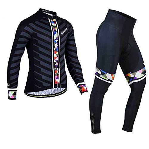 PGone Hommes Hiver Vélo Jersey Coloré Triangle Vêtements Vêtements de vélo - Vélo de Route VTT Vêtements de Sport en Plein air Noir (Size : X-Large)