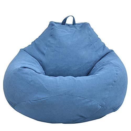 Iraza Puff Funda de Bean Bag (Sin Relleno) Funda para Sillón Puff Funda de Puf Grande Kit de Sillónes de Hinchables de Adulto Infantil para Sala Dormir para Adultos y Niños (Azul, 80 * 90CM)