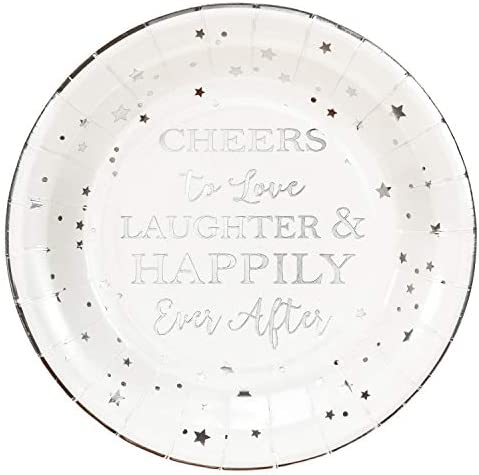 Crisky Cheers to Love Silver Disposable Plates for Bridal Shower Wedding Engagement Bachelorett product image