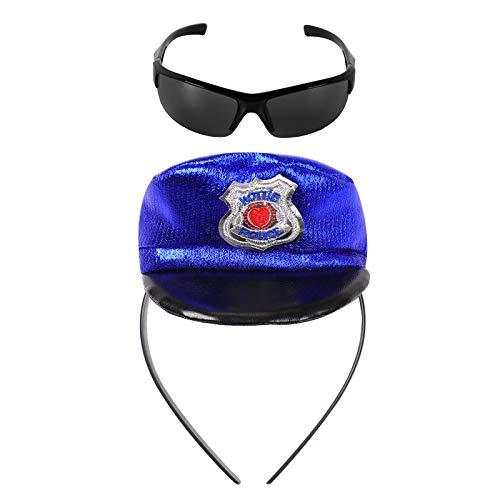 iEFiEL Conjunto de Accesorios de Disfraces de Polica Mini Gorra Placa Polica+ Gafas de Sol Juego de Roles Accesoriospara Nios Nias Halloween Fiesta Carnaval Negro&Azul One Size