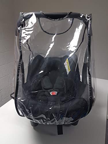 Housse de Pluie pour siège Auto Emmaljunga First Class fabriquée au Royaume-Uni en PVC Transparent Ultra Doux avec aérations.
