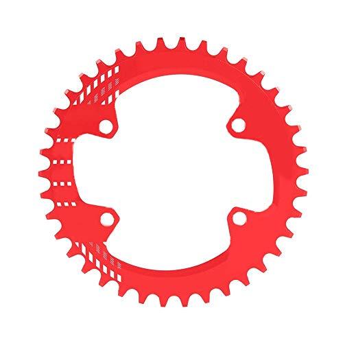 Alomejor Fahrradkettenblatt BCD 96MM schmales breites Kettenblatt-Einzelkettenring für Shimano M6000 M7000 M8000(34T-Rot)