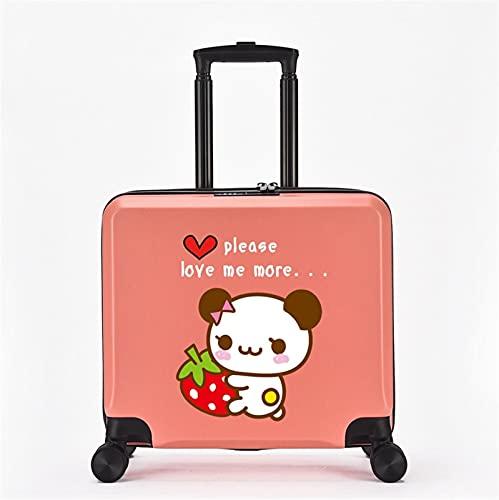 FGHHJ Equipaje para niños de 18 Pulgadas, Muchacha, niña, pequeña Maleta, Equipaje de Viaje con 4 Ruedas, cartón, Carcasa Dura, Peso Ligero,Pink Panda