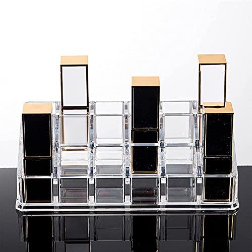 Bandejas organizadoras de maquillaje transparentes, vitrina de cosméticos, unidad de almacenamiento de encimera de acrílico, cajas para guardar lápices labiales, fácil de usar, multifunción que ahor