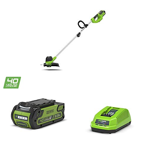 Greenworks Recortadora de hilo con batería G40LT (Li-Ion 40V 30cm ancho de corte 7000rpm motor cabezal giratorio empuñadura auxiliar ajustable varilla de aluminio con batería 2,5Ah y cargador)
