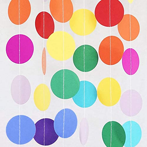 5 Pack 67ft Paper Circle Dots Garland Colorful Hanging Banner Paper for Birthday Party Streamers Wedding Decor Each pack