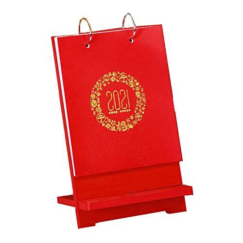 N \ A Calendario de Mes Chinos Año Nuevo 2021 Calendario Sobremesa En para el Año Lunar del Buey,14.5x4x24cm,Patrón Rojo 2021 Recambio Calendario para Sala de Estar