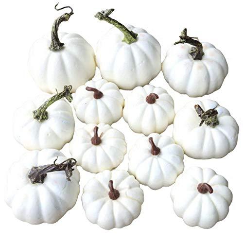Gresorth 12 Stück Künstlich Kürbis Weiß Kürbis Herbst Halloween Christmas Dekoration