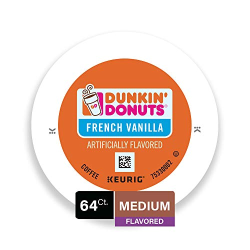 Dunkin' Donuts Medium Flavored French Vanilla Coffee, 64 K Cups for Keurig Coffee Makers