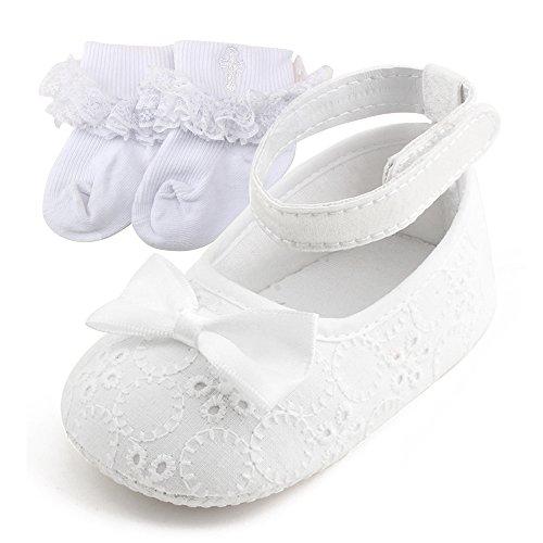DELEBAO Babyschuhe Taufschuhe Krabbelschuhe Weiche Sohle Schnüren Weiße Schuhe Baby Taufe Kleinkind Solekleinkind Krippeschuhe für Mädchen (Schuhe&Socken,0-3 Monate)