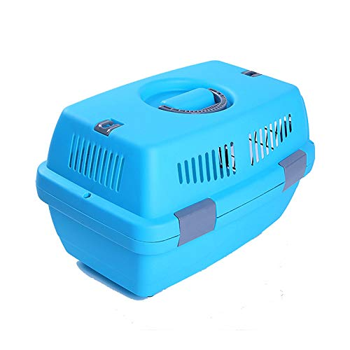 Cemoto One-side Open-door Pet Crate,Hard Hand-carried Outing Suitcase,Suitable For Multiple Occasions,Solid Color Multi-safety Buckle,30 * 32 * 48cm,Blue