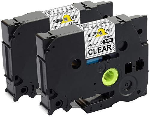 Yellow Yeti 2 Schriftbander TZe-131 TZ-131 schwarz auf transparent 12mm x 8m Etikettenbänd kompatibel für Brother P-Touch PT-1000 PT-E100 PT-H100 PT-D210VP PT-D400 PT-D600VP PT-P700 PT-P750W CUBE
