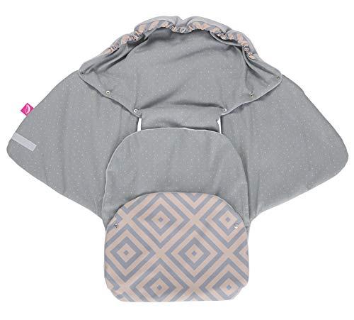 Baby Softshell inslagdeken voor babyschaal, autostoel, Maxi-Cosi, Romeinen en andere merken, ideaal voor kinderwagens, fietsaanhangers, buggy - vierkanten abrikoos