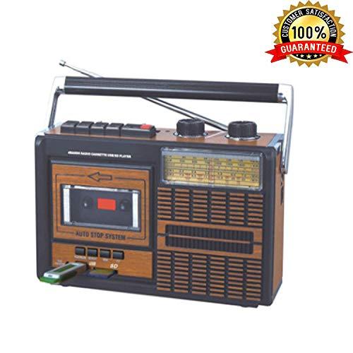 Lychee Tragbarer Retro Kassetten/Kassettenrekorder,AM/FM / SW1-2-Vier-Band-Radio, integriertem Stereo Lautsprecher, 3,5mm-Kopfhöreranschluss, Unterstützung für SD/USB-Eingang