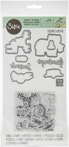 Sizzix Framelits stanssjablonen 8 stuks met stempel 663671 volkskunst kerst van Jordan Caderao, veelkleurig, eenheidsmaat