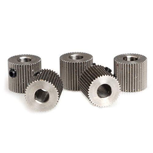 ARCELI 40 denti 5mm Bore Mk7 MK8 Estrusore ruota in acciaio inossidabile per CTC Makerbot 3D Printer Part (confezione da 5 pezzi)