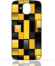 HTC Desire 526 G Plus TPU Silicone Case With Yellow and Black Blocks Pattern Design