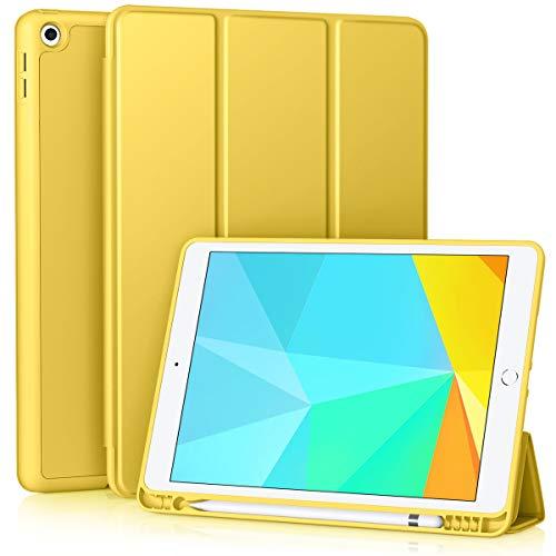Vobafe Funda Compatible con Nuevo iPad 8ª Generación 2020  iPad 7ª Generación 2019, Plegable Soporte Protectora TPU Cubierta con Portalápiz para iPad 10.2 , Auto-Sueño Estela Amarillo