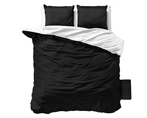 SLEEP TIME Bettwäsche Sleeptime Zweifarbig 100% Baumwolle, 200cm x 200cm, Mit 2 Kissenbezüge 80cm x 80cm, Weiß/Schwarz