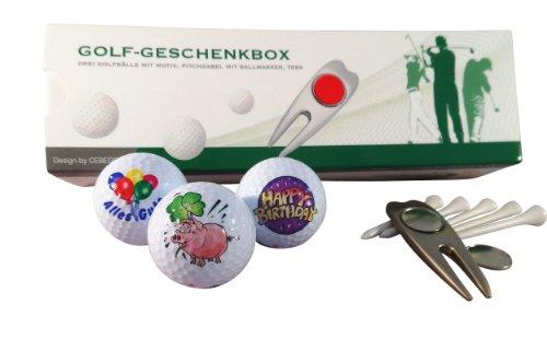 CEBEGO Golf Geschenkset Happy Birthday in Geschenkbox, Motivgolfbälle Markengolfball Druck Pitchgabel Geburtstagsgeschenk Golfer